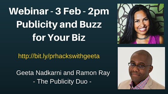 Publicity Hacks and Buzz: Webinar on 3 Feb with Ramon and Geeta (Baby Got Booked) – 2pm EST