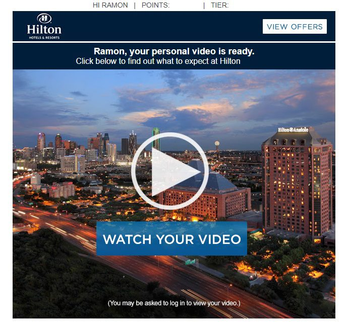 Hilton Hotel Uses Personalized Video To Greet Guests Before They Arrive