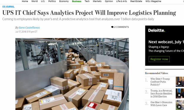 UPS Is Using Predictive Analytics. Here's What Your Business Should Do Says Ramon Ray