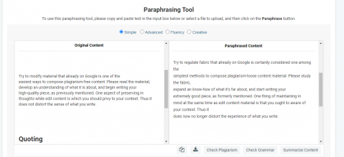 Example of a Content Paraphrasing Tool